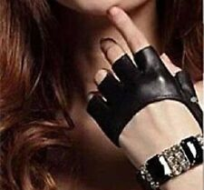 Half Finger Lady Leather Driving Show Fingerless Women Men Jazz Gloves