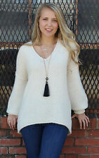 NEW Free People Boho Chic Gypsy All Mine Sweater Ivory Size S-L