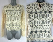 Ladies Womens Vintage Lace Cropped Top Blouse