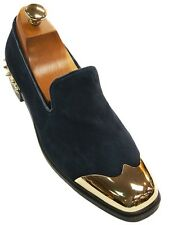 Fiesso Mens Navy Suede Spike Gold Cap Toe Slip On Party Loafer Dress Trend Shoe
