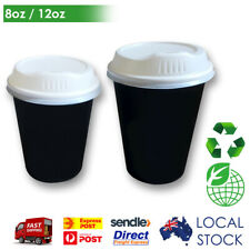 Take Away Single Wall Coffee Cups Black (8oz / 12oz) Disposable Sippa Lid