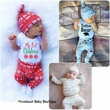 Newborn Toddler Infant Baby Boy Girl Clothes Onesie Bodysuit Vests+Pants Outfits