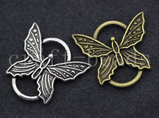 10/50pcs Antique Silver/Bronze Beautiful Butterfly Charms Connectors DIY 27x25mm
