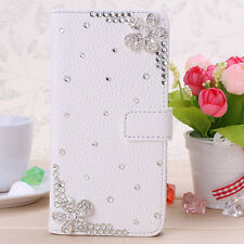 3D Crystal Magnetic Diamonds cherry blossom PU leather wallet flip case cover #L