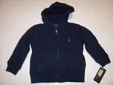 New Polo Ralph Lauren zip front hoodie jacket sweatshirt boys navy blue 2T