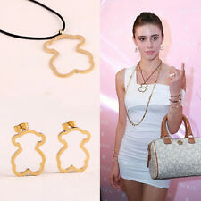 Cute Bear Sweater Chain Stainless Steel Nylon Cord Necklace Pendant Earrings Set