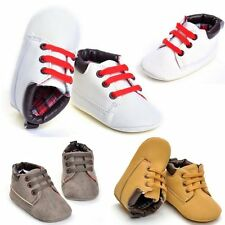 Toddler Girl Boy Lace-up Crib Shoes Newborn Baby Prewalker Soft Sole Sneakers