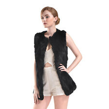 Thick Tops Real Knit Rabbit Fur With Raccoon Fur Collar Vest Gilet Fur Lady Coat