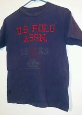 US Polo Assn Youth Size 10 12 Blue Red Silver Kid Boys Cotton Faded Tee Shirt