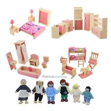 Funny Wooden Doll Bathroom Furniture Dollhouse Miniature For Kids Child Play Toy