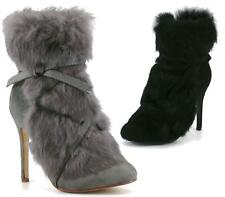 LADIES HIGH HEEL FAUX FUR ZIP UP FASHION ANKLE BOOTS SHOES SIZE 3-8