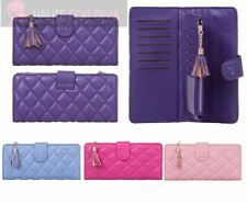 WOMENS TASSEL BIFOLD ZIP POCKET CADS ID PHOTO QUILTED FAUX LEATHER WALLET