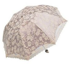 Double Lace Fabric Umbrella 3 Fold Anti-UV Summer Shady Sun Umbrella for Outdoor