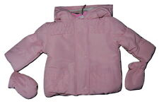 Girls Baby Pink Warm Microfibre Padded Hooded Jacket & Mitts 0-3 & 6-9 Months