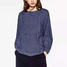 Womens Plaids & Checks Print Embroidered Long Sleeve Blouse Tops Shirt Size SML