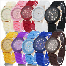 1X Unisex Colorful Geneva Silicone Jelly Quartz Analog Sport Wrist Watch Jewerly