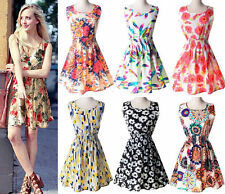 New Sexy Womens Summer Sleeveless Chiffon Sundress Beach Floral Tank Mini Dress