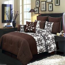 8pc Brown and White Bliss Floral Luxury Bed in a Bag Comforter Set & Pillows