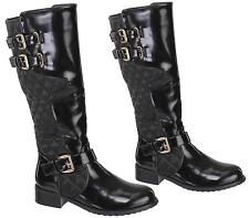 WOMENS BLACK QUILTED LEATHER STYLE LOW HEEL BUCKLE ZIP BIKER RIDING BOOTS SHOES