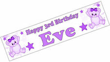 PERSONALISED BANNERS NAME AGE PHOTO BIRTHDAY PARTY teddy purple baby 1st 2nd D1