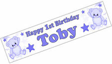 PERSONALISED BANNER NAME AGE PHOTO BIRTHDAY PARTY teddy blue 1st 2nd 3rd 4th D1