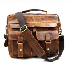 Men Vintage Cowhide Leather Messenger Bag Shoulder Laptop Bag Briefcase Satchel