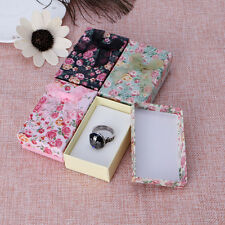 12pcs Rose Pattern Double Ring Display Box With Ribbon Bowknot Earring Gift Case