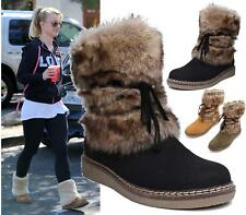 Womens Ladies Ankle Flat Fluffy Faux Fur Wedge Sole Short Boots Warm Shoes