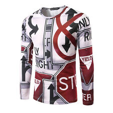 Men Long Sleeve Print Casual T-shirt Slim Fit Round Collar Shirt Pullover Tops