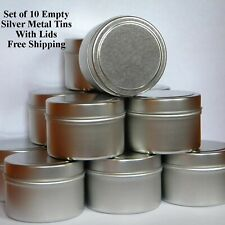 Empty Metal Tins With Lids, 4 Oz Round Silver For Candles, Crafts & Spices