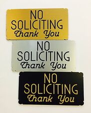 3 x 5 Engraved No Soliciting Front Door Sign Decorative Corners- Adhesive Backed