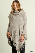 Umgee S M L Poncho Style Sweater Cowl Neck Knit Top Tunic Fringe NEW OATMEAL