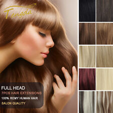 Clip in Full Head 100% Remy Human Hair Extensions Straight 7pcs/set 120g