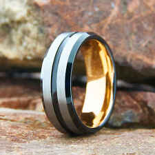 8mm Men's TUNGSTEN carbide Ring with grooved and stepped edge