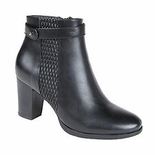 Ladies New Black Heeled Ankle Boots With Inside Zip And Strap Trim 3 4 5 6 7 8