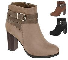 Womens Ladies Platform Block High Heel Chelsea Biker Ankle Boots Shoes Size UK
