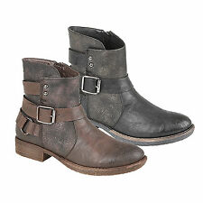 Ladies Girls New Black Or Brown Zip And Buckle Strap Ankle Boots UK 3 4 5 6 7 8