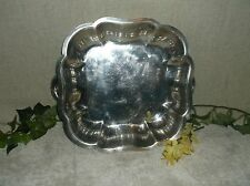 Silver Tone Metal Decorative Plate Butler Tray Bowl Dish Handled Platter