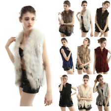 Women Real Rabbit Fur Vest Raccoon Fur Collar Knit Waistcoat Gilet Short 9 Color