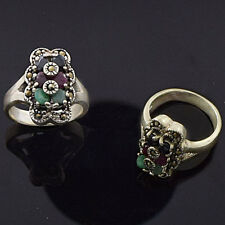 925 Sterling Silver Vintage Design Natural Emerald with Marcasite Ring FS