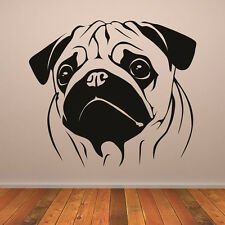 Pugs Face Portrait Canine Pet Dogs Wall Stickers Home Decor Art Decals