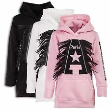 24brands Girl Hoodie Long jumper Hoodie Sweater Hood and Fringes