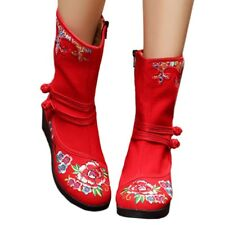 Vintage Beijing Cloth Shoes Embroidered Boots red 35