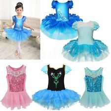 Girls Kids Ballet Dance Lace Party Tutu Skirt Dress Costume Leotard Dancewear