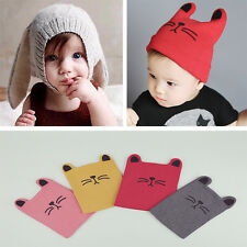 Cute Newborn Baby Crochet Earflap Hat Toddler Kids Cat Winter Warm Beanie Cap