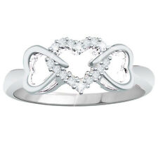 0.10CT Natural Diamond Sterling Silver Triple Hearts Promise Ring Free Size