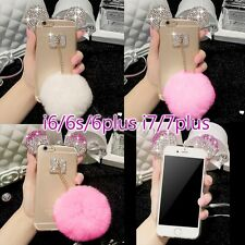 Cute Bling Ear Fluffy Ball Plush Mickey Mouse Crystal Soft Case Cover For iPhone