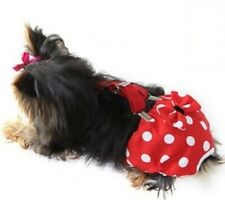 Washable Dog Diaper Sanitary Pants Female Girl RED Polka Dot Bow Suspenders