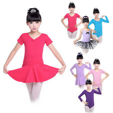 Girls Kids Ballet Dance Dress Leotard Bowknot Tutu Skirt Party Dancewear Costume