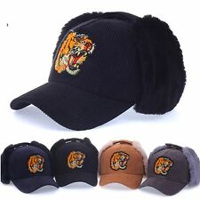 Unisex Balaclava Baseball Cap Trapper Hats Knitted Winter Hats Tiger Curved Hats